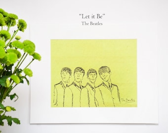 New! The Beatles - Free hand sketch on paper