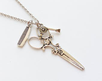 HAIRDRESSER Necklace Hairdresser Jewelry Hairdresser Gift Scissor Necklace Hairdryer Necklace Comb Necklace Hair Maker Necklace Stylist Gift