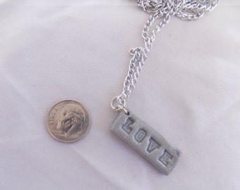 polymer clay silver love necklace