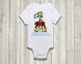 Brown Bear First Birthday Onesie Iron on Printable // DIGITAL FILE
