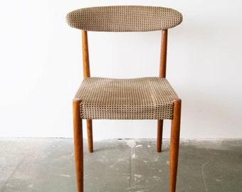 60s dining room chair, Scandinavian design, wooden chair teak Chair upholstered, Velvet