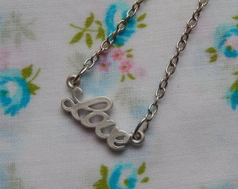 Small Love Antique Silver Charm Pendant Necklace