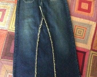 Boho Vintage Denim Long Skirt