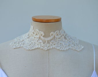 Clearance - 27% necklace Choker bridal necklace lace, ivory lace, Bridal lace