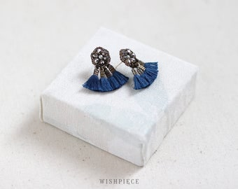 NAVY BLUE TASSEL fan earrings / dark silver stud earrings / wishpiece