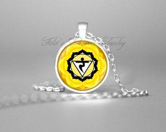 CHAKRA NECKLACE 3rd Chakra Pendant Yellow Solar Plexus Chakra Necklace Chakra Jewelry Yoga Teacher Gift Yoga Jewelry Reiki Gift Meditation
