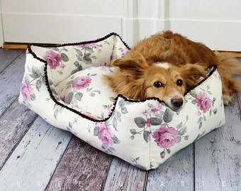 Dog bed, roses, cream, dog, cat, shabby, chic, country house, luxury, sleeping, pillows, soft, cozy, roses, flowers, noble