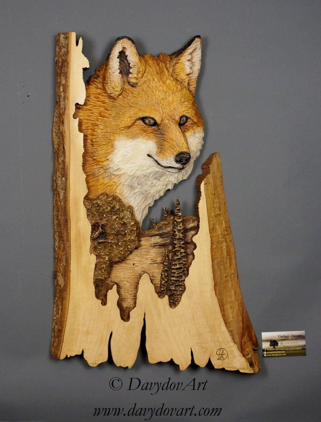 Fox Wood Carving Carvied On Barkwood Hand Made Wall Hanging