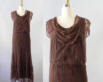 1930s Embroidered Dress / Vintage 20s 30s Embroidered Net and Lace Dress / XS
