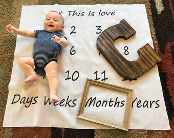 Baby Month Blanket, Milestone Blanket, Month Photo Blanket, Photo Op Blanket, Month Milestone Blanket, Baby Photo Blanket, Month Blanket