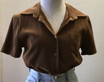 Vintage 70s Faux Suede Collared Button Up Brown Blouse Medium