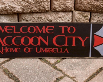 Resident Evil, Raccoon City, Umbrella Corporation, Wood Sign