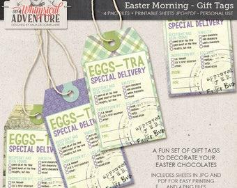 Easter printable tags, digital download, printable digital collage sheet, gift labels, Easter bunny, Easter party printables, Easter tags