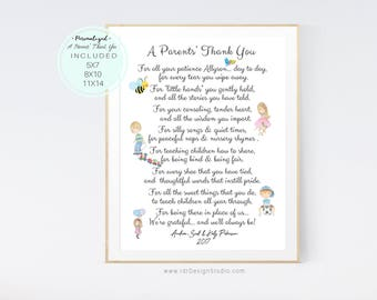 End of Year Teacher Gift, Teacher Appreciation Gift, Personalized Gift, A Parents' Thank You, Babysitter, Daycare, Camp Counselor, D65-35P