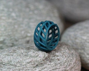 Geometric Ring Green, Architectural Ring, Geometric Jewelry, Contemporary Ring, Structural Ring, Minimalist Jewelry, Geometric Ring
