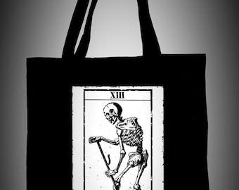 Black cotton tote bag with death tarot illustration LA MORTE,ecological white ink