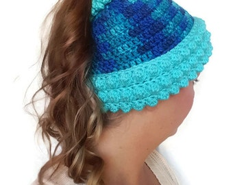 Blue Womens Winter Hat, Pony Tail Beanie, Crochet Ponytail Beanie, Blue Toboggan,  Turquoise  Handmade Ear Warmer, Gifts for Her