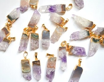 Nature Amethyst Slice Charms Drusy Druzy Geode pendant , Amethyst Druzy Agate Pendant with Gold Electroplated Edges - amethyst pendant