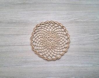 Natural linen doily, crochet linen doilies, brown round doily, circle crochet doily, 12 inch doily, linen round doilies, house warming gift