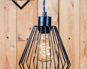 Black Triangular Cage pendant light Industrial Aluminium ceiling light, Antique Edison Bulb, Lamp, Rustic Lighting