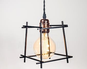 Black Square Cage copper socket Edison bare bulb pendant light industrial style