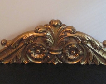 Hickory Manor House French Architectural Gold Ornate Pediment Door Topper Wall Plaque