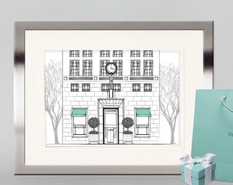 Tiffany & Co 5th Avenue New York City, Flagship store, fashion print, architecture print, Breakfast at Tiffany's print, Tiffany and Company