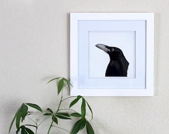 "Watercolor Raven Painting, Framed artwork/8""x10""/corvidea art/crow/bird painting/nature artwork/wall art/home decor/rook art/ornithology art"