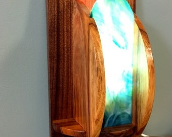 Art Deco Style Hawaiian Koa and African Sapele Wall Sconce