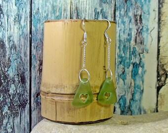 Green Heart Long Earrings Seaglass Earrings Beach Wedding  Silver Chain Earrings Beach Glass Earrings
