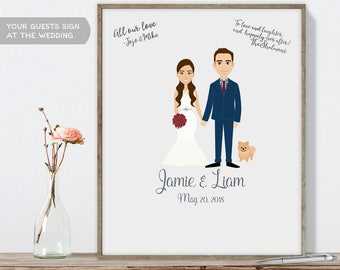 Wedding Couple Portrait / Personalized Portrait Guest book / Bride, Groom / Custom Illustration ▷ Printable File {or} Printed & Shipped