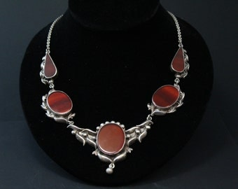 Sterling Silver Carnelian Agate Vintage Repousse Statement Necklace