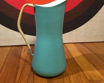 Vintage Dansk Kobenstyle Turquoise Enamel Pitcher, Dansk Denmark Enamelware, Decorative Mid Century Pitcher, Jens Quistgaard for Dansk, IHQ