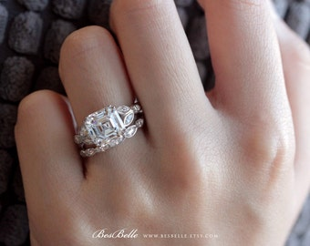 5.08 ct.tw Art Deco Bridal Set Ring-Asscher+Marquise Cut-Leaf Shaped Half Band-Wedding Set Ring-Anniversary Ring-Sterling Silver [3214-2]