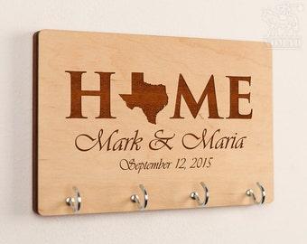 Personalized Key Holder Key Holder Key Rack State Love Home Wedding Gift Established Family All States Available Housewarming Gift KeyHolder
