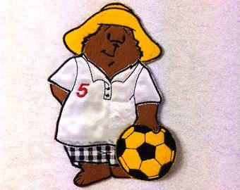 Paddington Bear Patch Paddington Bear Playing Soccer Iron On Patch Bear Patch