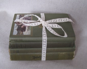 Shabby Vintage Book Bundle in Olive Green, Decorative Book Set, Rustic Books