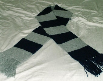Handmade Navy Blue and Gray scarf