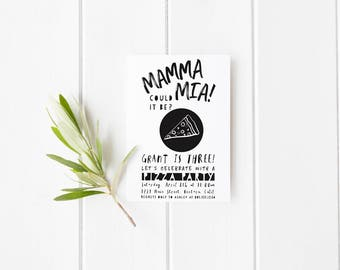 Mamma Mia Pizza Party Invitation- Birthday- 1st- 2nd- 3rd- Mustache- Black White or Choose Your Color -Digital File- Print Yourself