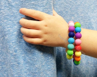 Toddler and Kids Bracelet - Rainbow - Chew Beads - Round Trendy - Fidget Toy - BPA Free Silicone - Kids - Dress Up - Toddlers - Chewy