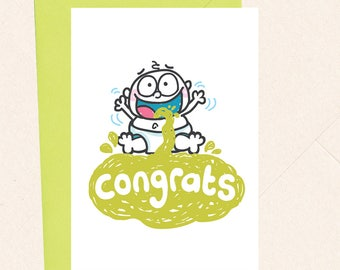 Funny New Baby Card Funny New Parent Card Baby Sick Expecting Card