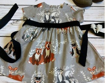 Baby woodland dress, Girls dress gray, Baby dress foxes, Fox dress, Girls woodland dress, Boho baby dress Sizes Newborn to 6
