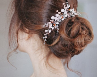 Bridal Hair Comb, pink, Crystal Comb, Wedding Comb, Wedding Hair Accessory, pink quartz, Hair Accessories, Hair Accessories, barrette, comb