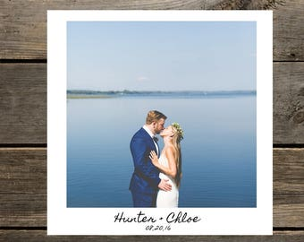 Wedding thank you card. Polaroid + handwritten look! Custom info and image. 5.25 x 5.25