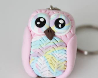 Colorful pastel pink Owl Keychain
