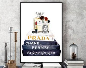 Fashion illustration make up art, make up print, Fashion designers books stack Watercolor art, bathroom, dressing, bedroom, make up gift for