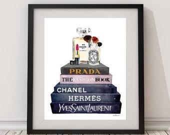 Fashion illustration, make up, wall art, make up print, Fashion designer, books, Watercolor, bathroom, modern, bedroom, perfume, gift for