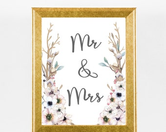 Printable Mr And Mrs Rustic Wedding Sign - Wedding Anniversary Sign - Wedding Gift - Wedding Couple Table Sign - Wedding / Party Decor
