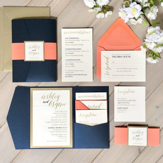 Coral Wedding Invitations: Navy Coral And Gold Wedding Invitations Navy And Coral