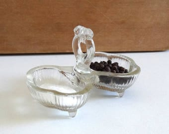 Vintage 1930s Glass Salt and Pepper Cellar - Antique Art Deco Salt and Pepper Pot with Ribbon Decor